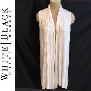 WHBM White Long Open Duster 2X NEW